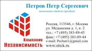 Визитка с логотипом компании: вариант 11