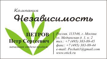 Визитка с логотипом компании: вариант 5